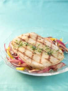 Grilled Calamari Steaks with Sauteed Onions & Radicchio